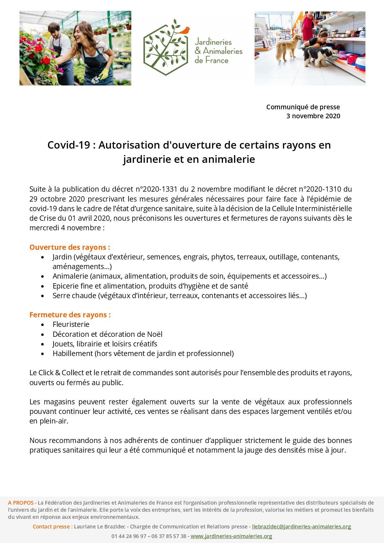 Communiqué des Jardineries & Animaleries de France